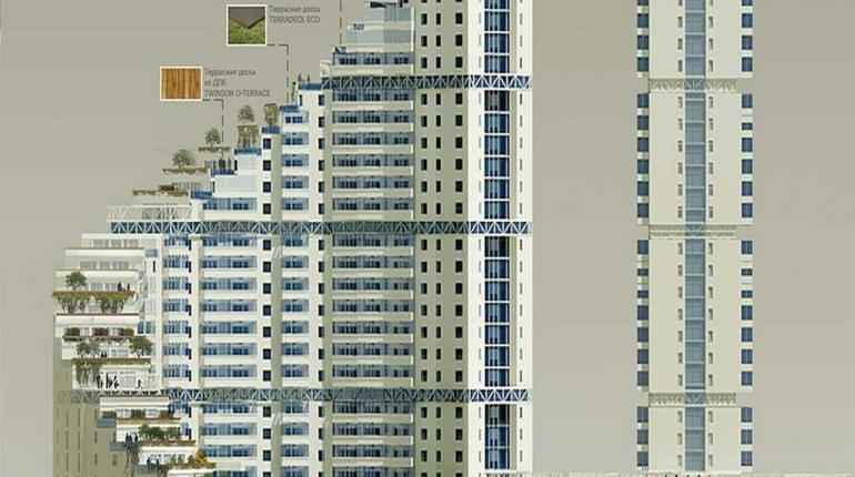 Многоэтажный жилой дом на набережной реки Исеть по ул. Челюскинцев в г. Екатеринбург